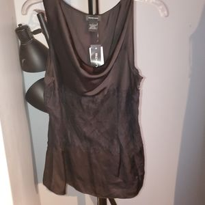 Spense Lace Panel Silky Cowl Tank L NWT